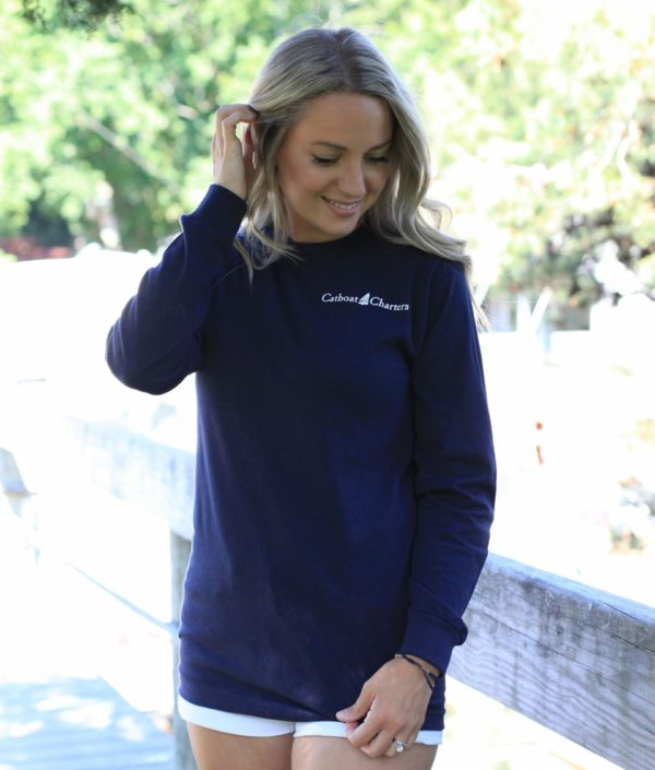 navy long t front